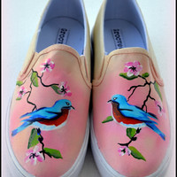 Womens Painted Shoes, Custom Painted Womens Shoes, Bluebirds, Womens Slip on Shoes, Eastern Bluebirds, Spring Shoes, Painted Birds, Floral