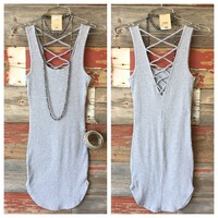 Back at It Ribbed Tank Dress: Grey