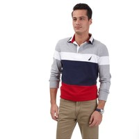 Pieced Colorblock Rugby Polo Shirt