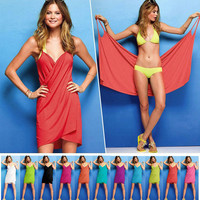 New Women Beach Dresses Ladies Sexy Bikini Beach short Dress woman Victoria V-neck Summer beachwear Milk ice silk Clothes