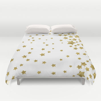 Starry Magic - White Duvet Cover by Lisa Argyropoulos
