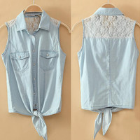 A 080102 Lace stitching denim vest thin section