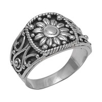 Oxidized Sterling Silver Sunflower Ring