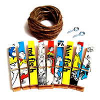 One Fish Two Fish Baby Shower Birthday Party Decor Dr. Seuss Kids Art Display Classroom Nursery Decorative Clothespins Photo Clothesline Kit