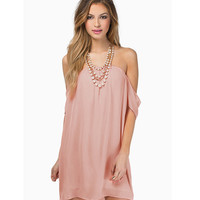 Off The Shoulder Rose Chiffon Dress