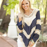 Picture Perfect Knit Lace Top Navy