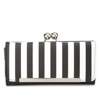 Black/White Kiss-Lock Striped Checkbook Wallet by Charlotte Russe