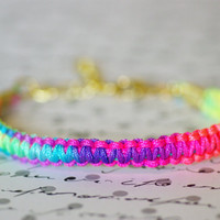 Neon Bracelet Square Knot, Multi Colored, Bright Colors