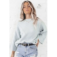 Work It Out Baby Blue Bell Sleeve Sweater