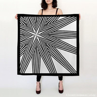 Black and White Star Burst Silk Scarf / Black Star Scarf / Geomoetric Lines Printed Scarf / Gift For Women / Bloom Bloom Wear