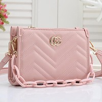 GG sewing thread gold buckle ladies chain shoulder bag shopping messenger bag Pink