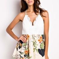 Lace Floral Halter V Neck Asymmetrical Pleated Rompers