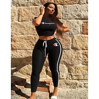 Champion Autumn Fashion Women Casual Print Top Pants Trousers Set Two-Piece Sportswear