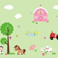 """Farm Nursery Wall Decals, Country Barn Wall Decals, Kids Room Farm Animal Decals, Farm Theme Wall Stickers, Sheep Horse Decals - 95"""" x 140"""""""
