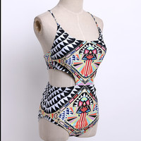 One Piece Swimsuit Sexy Printing Cut Out Monikinis Bathing Suit