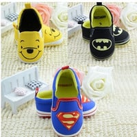 1 pcs Retail superman batman tigger thomas minnie cartoon baby shoes boys girls summer spring autumn newborn infant sapatos@GXF