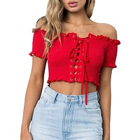Off Shoulder Crop Sexy Women Shirts Short Sleeve Backless Lace Up Blouses Female Top Shirt
