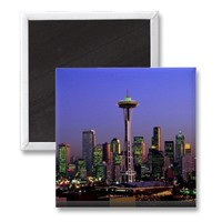 Sunset view of Space Needle and city scape, Seattl Fridge Magnet from Zazzle.com