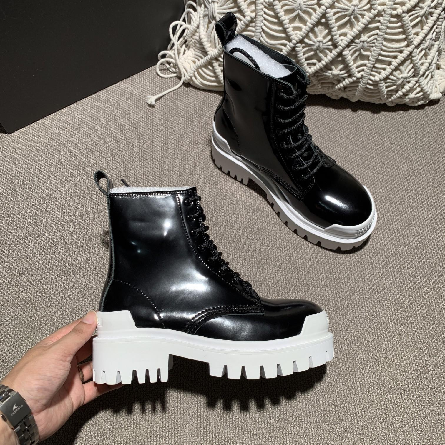 Image of Balenciaga Leather boots Fashionable Leisure Boots Shoes 08186