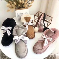 """UGG"" Winter Trending Women Stylish Pompom Ball Bow Leather Wool Boots Shoes In Tube"