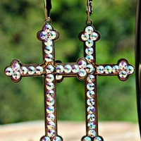 large cross earrings with crystals