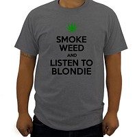 men Smoke Weed And Listen To Blondie T Shirt cotton 100% men t shirt for summer luxury t shirt home tees