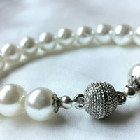 Wedding Ivory Pearl Bracelets and Bridal Jewelry with Silver Plated Clasp.