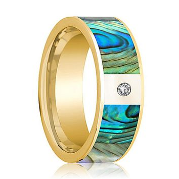 Men's 14k Yellow Gold Flat Wedding Band with Mother of Pearl Inlay and White Diamond Setting