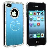 Apple iPhone 4 4S 4G Light Blue S851 Rhinestone Crystal Bling Aluminum Plated Hard Case Cover Volleyball