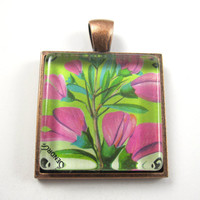 Postage Stamp Pendant of Flowers, from Vintage, in Glass Tile Square