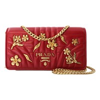 Prada Mini Wallet on Chain Red Leather Gold Flowers Crossbody 1DH044