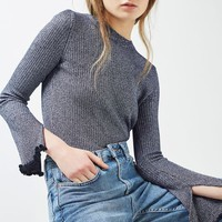 Flute Frill Sleeve Knitted Top