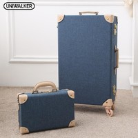 """12"""" Mens Travel Valise 20"""" - 26""""  Women Vintage 2Pcs Luggage Sets Oxford Carry On Suitcase With Spinner Wheels"""