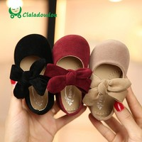 Claladoudou 11.5-15.5CM Toddler Girls Shoes Black Suede Big Bowtie Princess Shoes Red Baby Girls Dance Shoes Beige Infant Shoes