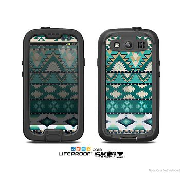 The Vector Teal & Green Aztec Pattern  Skin For The Samsung Galaxy S3 LifeProof Case