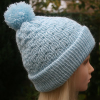 Hat for a young Lady, Girls 7-11 years, Knit Pom Pom hat, Girls winter hat, Bobble hat, READY TO SHIP!