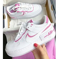 Samplefine2 Nike Air Force 1 Shadow Fashion Women Casual Sport Running Shoes Sneakers White&Pink