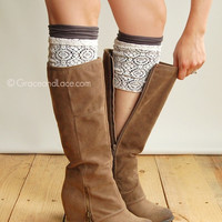 SALE London Lace Boot Cuffs - GRAPHITE lace boot topper boot cuff - faux legwarmers - leg warmers lace cuff by Grace and Lace