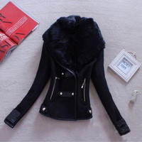 New Fashion Women's Ladies Warm Thickening Faux Fur Collar Jacket Coat F_B CB033630 = 1956249156