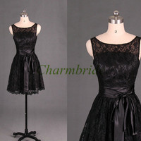 lace bridesmaid dresses / cute girls dresses for wedding party / knee length prom dresses with satin sash