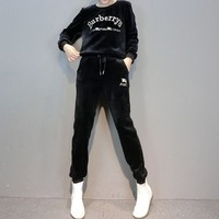 """""""Burberry"""" Women Casual Fashion Velvet Embroidery Letter Long Sleeve Trousers Set Two-Piece Sportswear"""