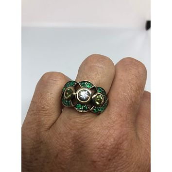 Vintage Handmade Genuine Green Peridot and Chrome Diopside Filigree Setting 925 Sterling Silver Gothic Star  Ring