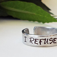 I Refuse to Sink Ring - Nautical Ring - Inspirational Ring - Anchor Ring - Handstamped Ring - Aluminum Ring - Adjustable Ring - Silver Ring
