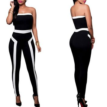 2016 Fashion Women Spandex Jumpsuit Rompers Long pants Female Overall Playsuits Tight Backless Off shoulder Sexy Black Bodysuit