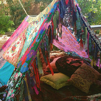 Boho tent teepee Bohemian Tapestry glamping silk hippy scarves Gypsy hippie patchwork canopy Wedding Decor photo prop backdrop Bohemian