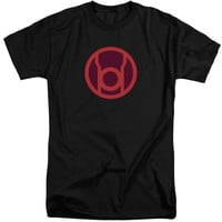 GREEN LANTERN/RED SYMBOL-S/S ADULT TALL-BLACK