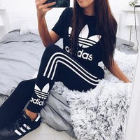 Tagre™ Women Fashion Adidas Print Stretch Exercise Fitness Pants Trousers Leggings Sweatpants Shirt Top Tee