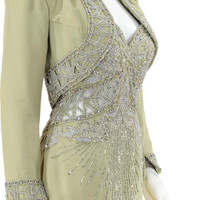 Beaded Party Dress Cutout Halter Designer Cocktail Gown Wedding Dress Two Piece with Bolero Jacket
