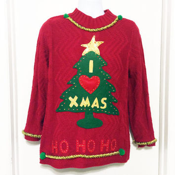 Ugly Christmas Sweater, Grinch Sweater, Christmas Sweater, Red Sweater, Ugly Sweater Party, Small, Item #1