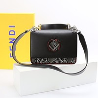 FENDI F logo Leather Tote Handbags for Women Multicolor Striped Shoulder Purses with BLACK YELLOW Buckle